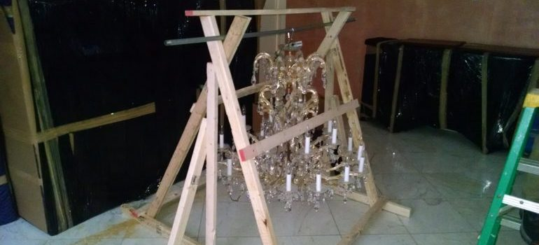 a crate for a chandelier