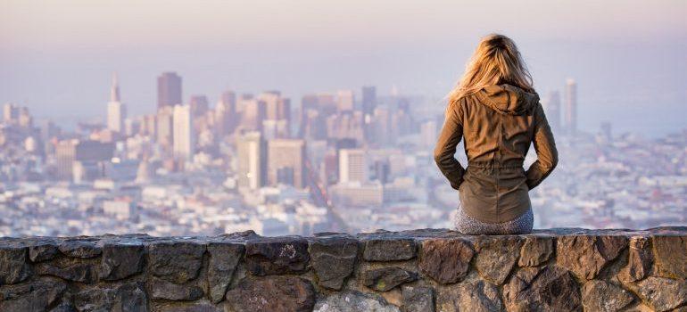 woman looking at NYC
