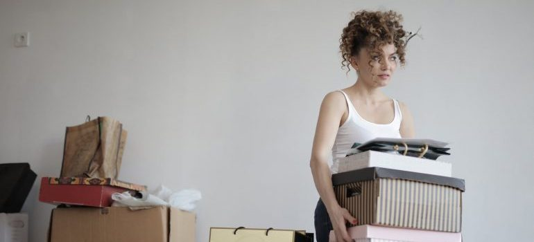 a woman packing your household