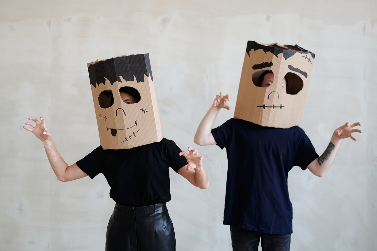 kids with boxes on their heads